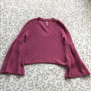 Free People Bell Sleeve Knit Sweater
